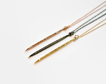 Diamond spike necklace, mothers day gift, gold spike, genuine pavé diamond pendant, gold stick, dagger, edgy necklace, modern jewelry - dash