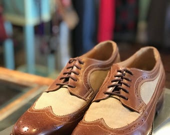 Two Toned Oxford Wingtip Shoes 9 1/2