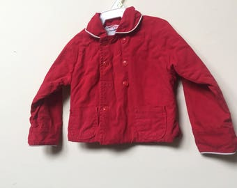 1940s-1950s Children Coat / Vintage Red Coat/ Vintage Toddler Coat / Coat for Child 18m-2T