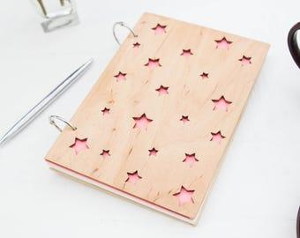 Star Wood Book, Wooden Sketchbook, Wood Notepad, Custom Notebook, Stylish Notebook, Wooden Notepad, Custom Notepad