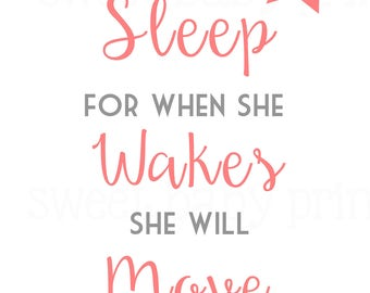 Girl Sleep and Move Mountains Nursery Wall Art
