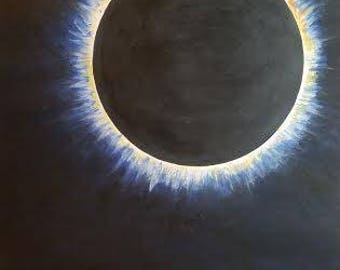 Eclipse. 16x20 Original Artwork Print From Painting 2017 Eclipse Moon Sun Sky Totality