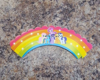 12 piece my little pony cupcake wrappers- party decoration- birthday decortion