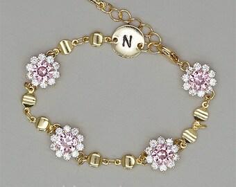 Pink Bridesmaid Bracelet -  Personalized Bracelet - Rose Gold Bridesmaid Jewelry - Bridesmaid Jewelry  Gold -  Gold Bridesmaid Bracelet