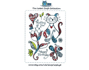 A6 set of photo-polymer clear stamps - ZENTANGLED CAT DESIGN