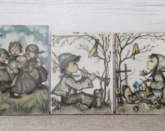 Three Vintage Small Hummel Prints, Unframed Vintage Hummel Prints
