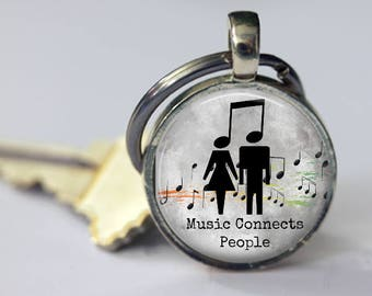 Music Connects People Pendant, Necklace or Key Chain - Quote Pendant, Music Teacher, Musician, Music Notes