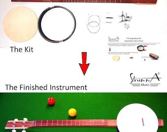StrummA 4 String Banjo KIT Four String Open Back Easy Self Assembly Cigar Box Guitar