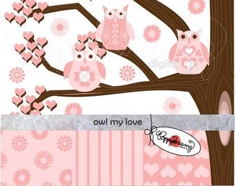 Owl My Love Paper and Elements SET: Digital Scrapbook Paper Pack (300 dpi) Wedding Baby Shower Valentine Pink Brown