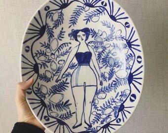 Lemon Girl Big Bowl, Large Fruit Bowl, Ceramic Fruit Basket, Ceramic Fruit Bowl, Large Plate