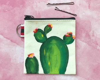 Hand painted Cactus Coin Purse