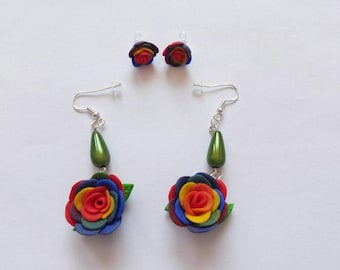 Rainbow Rose Earrings