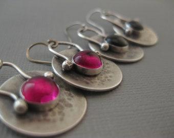 Ruby and Black Onyx Sterling Silver Dangle Drop Earrings