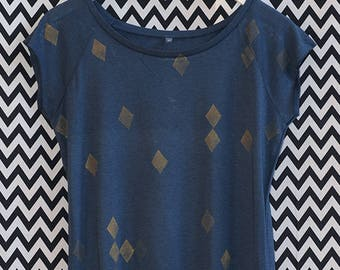SHIRT diamonds blue gold / / organic fairtrade