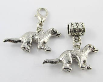 3D Ferret Charm Select European Charm or Clip on Clasp