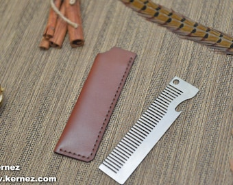 Men's Gift, Men's Birthday Gift, Groomsmen Gift, Stainless Steel Comb with Bottle Opener and Leather Sleeve, Leather comb sleeve, horween
