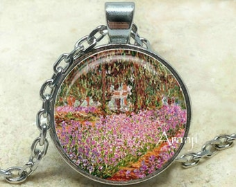 Monet's Irises in Monet's Garden, Giverny fine art pendant, Monet pendant, Monet necklace, art necklace, art jewelry, Monet, Pendant #AR132P