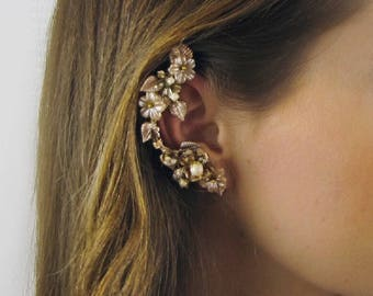 Champagne & Peach Flower Bridal Ear Cuff Coordinated Pearl Post Earring