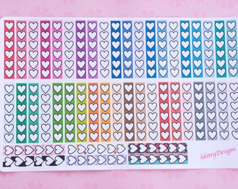 Rainbow Heart Checklist Stickers for your Erin Condren Life Planner - 46 Stickers