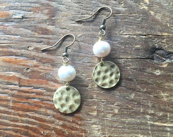 Pearl and Antiqued Bronze Earrings