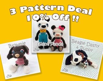 PDF Amigurumi / Crochet Pattern Special 3-Pattern Deal: Sleepy eye dog Brownie, Beagle Dashy and Baby, Giant Panda Twins CPD-16-3319