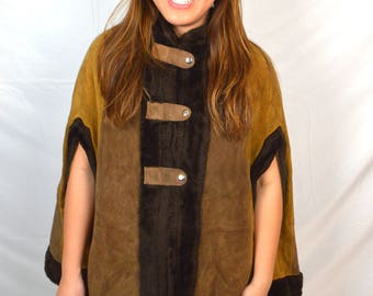 Vintage Boho Patchwork Leather Suede Poncho Sweater