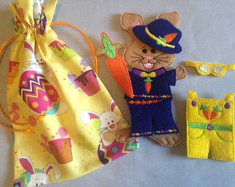 Boy Easter Bunny Felt Paper Doll and Clothes