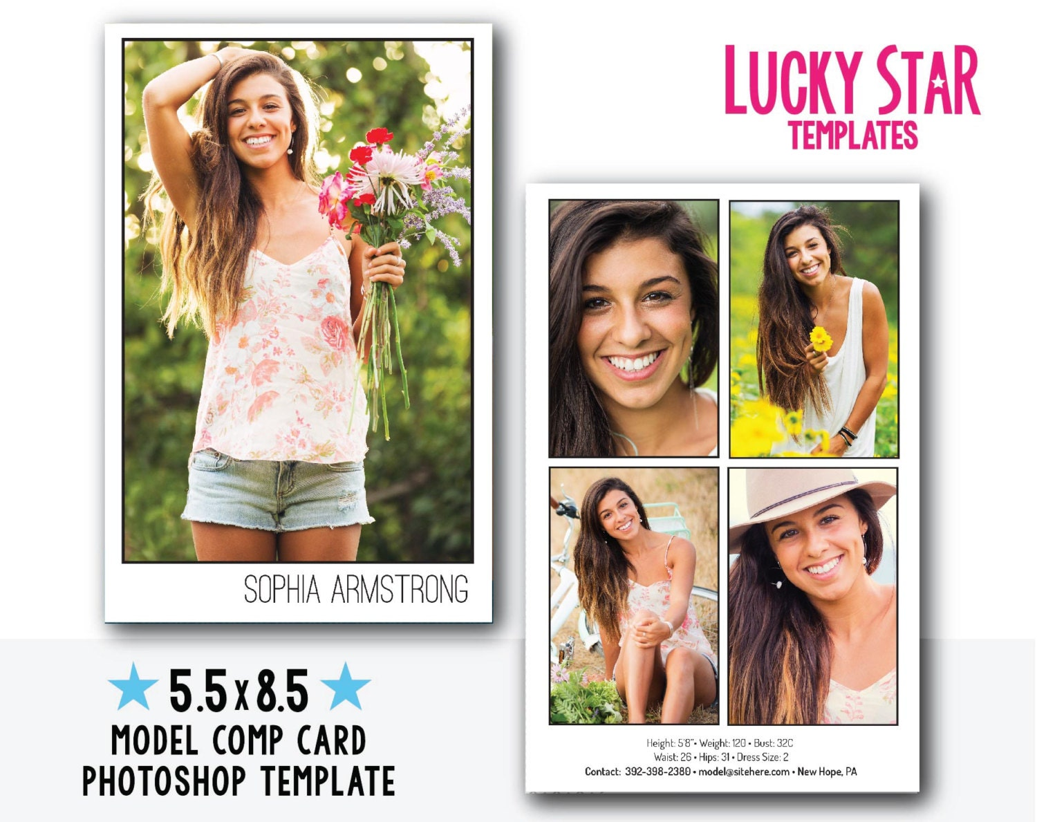 Customizable digital model comp card power portraits for Free model comp card template psd