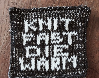 Knit Fast Die Warm Patch - one off glittery black yarn