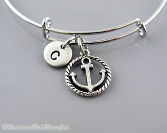 Anchor and rope bangle, Anchor bracelet, Nautical bracelet, Anchor charm, Expandable bangle, Charm bangle, Monogram, Initial bracelet