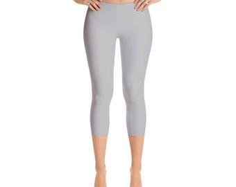 Capris Silver Leggings, Gray Yoga Pants, Mid Rise Waist Womens Yoga Clothes