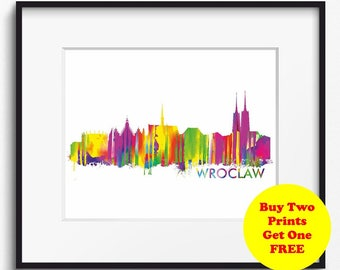 Wroclaw Skyline Watercolor Art Print (399) Cityscape Poland