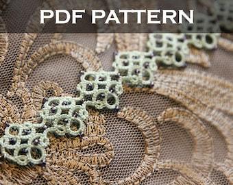 Tatting lace bracelet pdf pattern (Medieval tile)