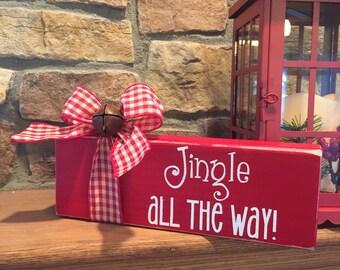 Jingle Bell Block  - Jingle All the Way -  Christmas Decor - Holiday Decor - Hostess Gift - Teacher Gift - Friend Gift - Christas Decoration