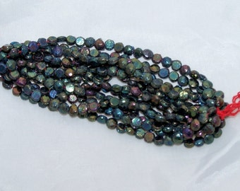 Vintage nailhead beads Green Iris 3mm doll buttons mini glass flatbacks