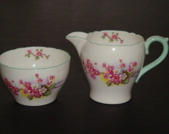 Shelley England BLOSSOM Cream and Sugar ~ New Cambridge Shape
