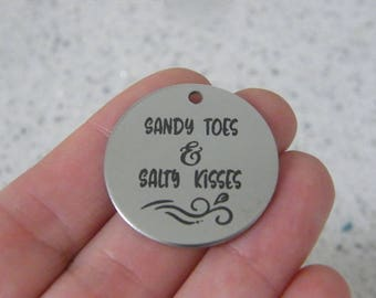 1  Sandy toes & salty kisses stainless steel pendant JS3-13