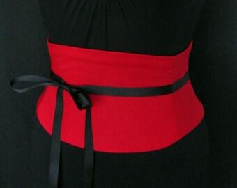 Red Corset Belt / Custom Waist Cincher / Steel Boned Belt / Tight Lacing Corset / Waist Shaper / Custom Corset / Wedding Corset / Obi Belt