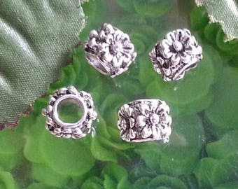 20 spacer European beads Tibetan spacers, large hole beads, lead free, rondelle, silver antique, 7 x 11 x 11 mm.