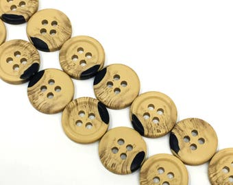 13mm Brown Wood Four Hole Button 12 Pieces