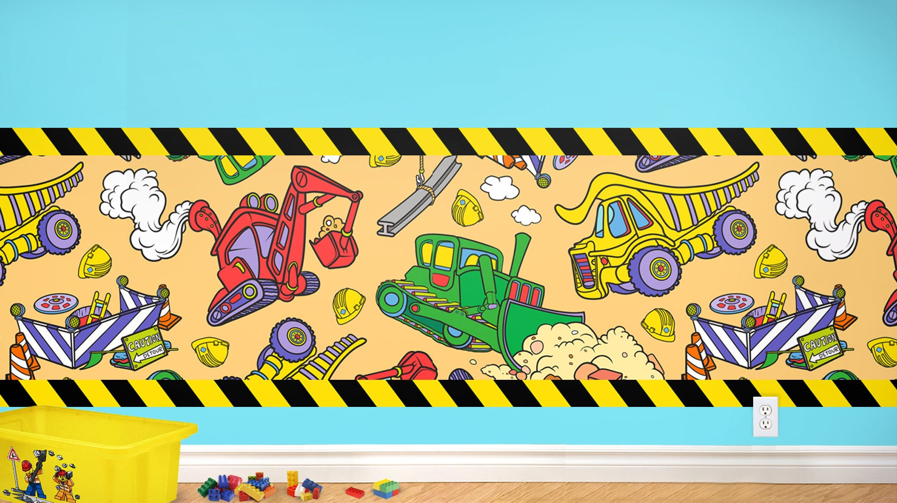 Kids Construction Peel and Stick Wainscot Wall Decal and
