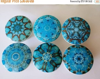 15OFF 6 drawer knobs Turquoise wooden knobs pulls aqua blue designs chakras mandalas set of 6 wooden drawer knobs; 1 1/2 inches