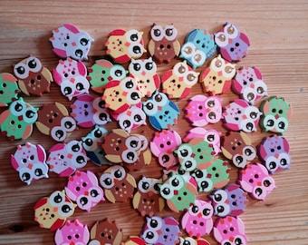 Wooden Owl Buttons × 10