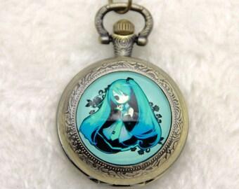 Hatsune Miku Necklace Pocket watch, Vocaloid necklace, Vocaloid watch, 2525m