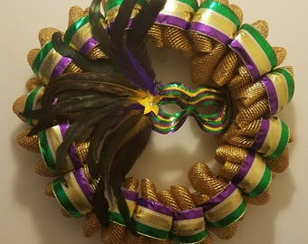 Mardi Gras Feather and Sequin Mask Wreath - Deco Mesh - Hand Crafted, Multi-Color