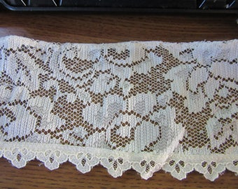 "4 yards of 4"" scolloped edge ECRU CHANTILLY Type  Embroidered Lace"