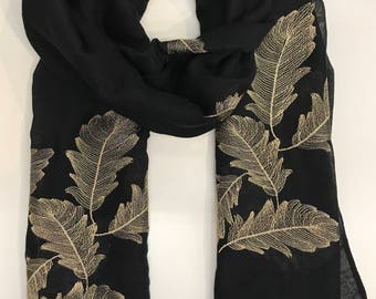Hand Embroidered Scarf- BLACK colour/Leaves print/Autumn Scarf / Women Scarves / Gifts For Her / Accessories / Handmade