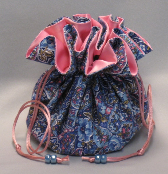 Pink & Blue Paisley Jewelry Travel Tote--Drawstring Organizer Pouch--Large Size