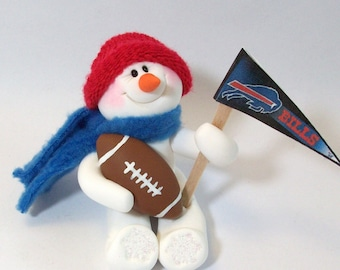 Buffalo Bills: Football snowman ornament