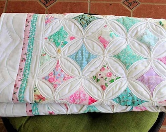 Cathedral Window baby quilt, Traditional Patchwork, Baby boy quilt, Baby girl quilt, Perfect Baby Shower Gift